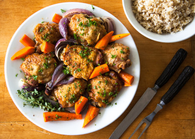 Braised Chicken with Roasted Vegetables with recipe (link)