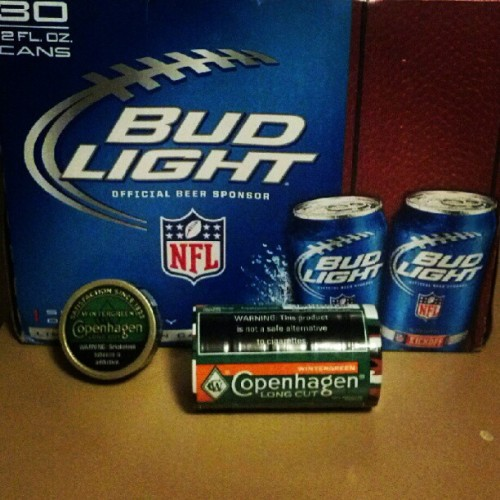 All set for the weekend! #budlight #copenhagenwg #delicious