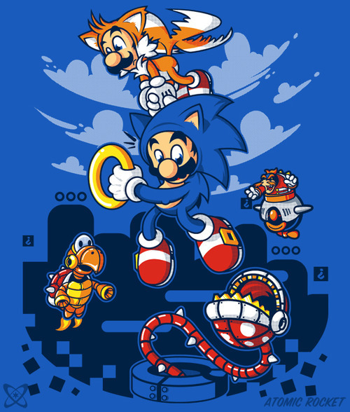 Super Sonic Bros by AtomicRocket - Sold on December 1st at Teefury USD $10 for 24 hours only Follow the artist on Tumblr