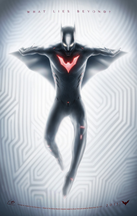 Everyone checkout this incredible Batman Beyond artwork by Guy Bourraine Jr above! Also don't forget to go to his page for more goodies!! :)  ~The Captain OC  tiguybou:  This is kind of a mock-teaser poster. I wanted to come up with a design that would work for a live-action Batman Beyond film. I envisioned him as a stealthy, agile, ninja-like assassin…minus the assassin part (Batman's not a killer). I also imagined the suit looking very simple and black from far, but revealing a lot of fine details from close, and a lot of hidden technology. Be sure to download it on my deviantArt page (click on the pic!) to see the smaller stuff…enjoy!