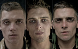 sleepinglauren:  Photographer Lalage Snow takes pictures of soldiers' faces before, during and after the war in Afghanistan.