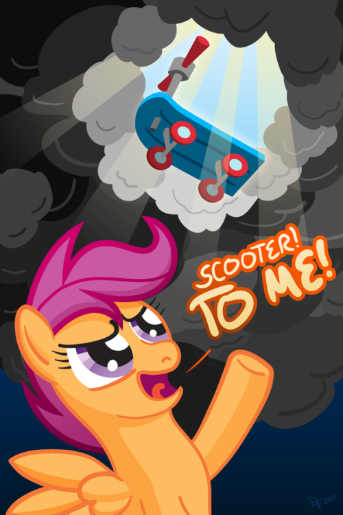 mlpfim-fanart:  Scootaloo Summons Her Steed by *kefkafloyd