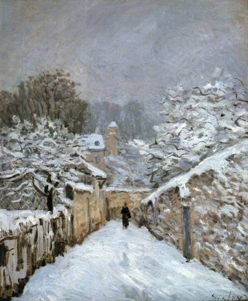 le-desir-de-lautre:   Alfred Sisley Snow at Louveciennes 1878Oil on canvas, 61 x 51 cmMusée d'Orsay, Paris