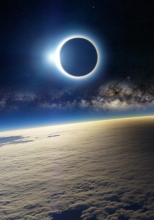 euphoricwanderlust:  Solar eclipse, as seen from Earth's orbit