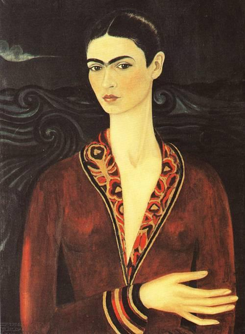 gentle-insomnia:  frida kahlo, self portrait in a velvet dress, 1926 painted when she was aged 17
