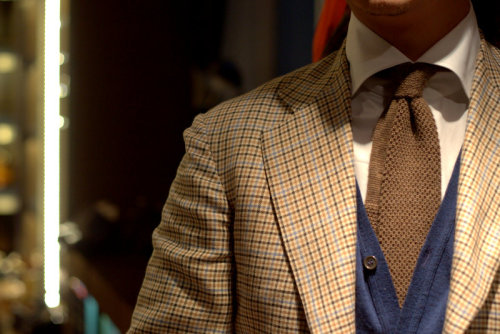 lnsee:  Layered Details: Liverano Checked SportsjacketOrazio Luciano Tall Collar White Twill Shirt John Smedley Indigo CardiganSorley Armoury Wool Cashmere Knit in Brown