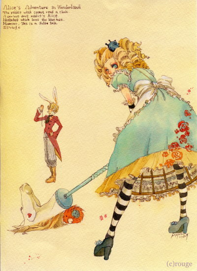 "kamelia83:  ""Alice in Wonderland"" Characters:Alice, White Rabbit Artist: ""Karuto"""