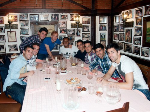 Real Madrid Castilla babies having a lunch at Asador Restaurant.