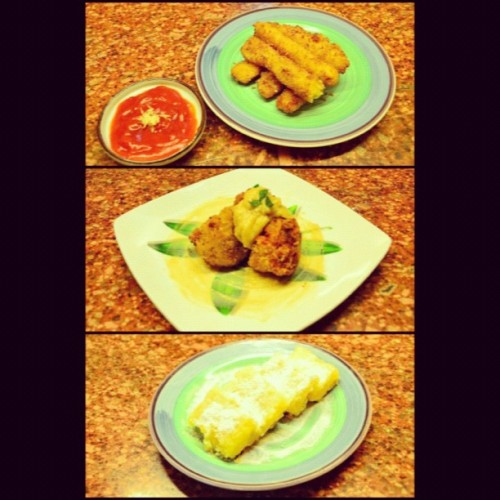 PRIMLEC project !!!!! mozzarella sticks with marinara sauce, cordon bleu with dijon-parmesan sauce, lemon squares