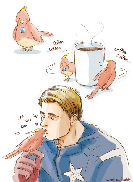 sakubows:  Second post for SteveTonyFest! Inspired by this image. Seriously, in my eyes, Iron Man and Tony sometimes look like a little bird…orz