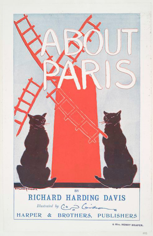 "It's a vintage Caturday, courtesy of the Library's Miriam and Ira D. Wallach Division of Art, Prints and Photographs in our Art and Architecture Collection. This 1895 poster by famed illustrator Edward Penfield features two big black cats and a windmill - can't lose with that combination. It's advertising ""About Paris,"" a book by well-known journalist and writer Richard Harding Davis. By the way, you can order prints (including this one) from our collections via NYPL Premium Services - so browse the Digital Gallery and order up some unique and historic holiday gifts!"