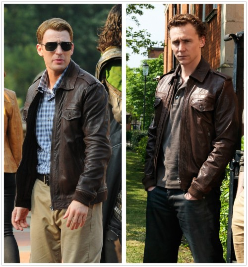 "jillypooh:  buttskittles:  northern-downpour-97:  torrilla:  Something looks suspiciously familiar…  Woah. Wat.  What if they were just looking around the set for a leather coat for Steve, and Tom is just ""OH! I have the perfect one!"" And runs to his trailer closet, which it filled to the brim with leather coats. Tom, you have too many leather coats  you can never have too many leather jackets. :D"