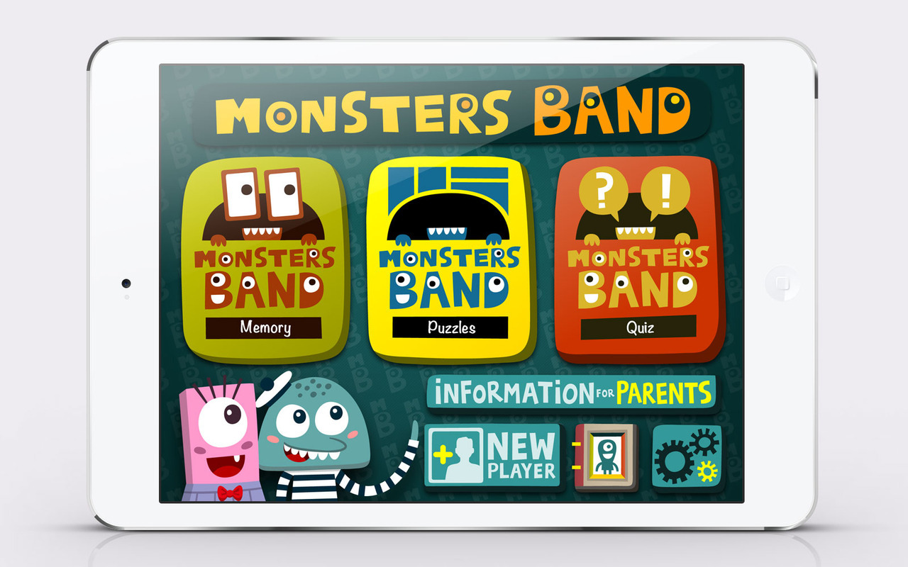 Monsters Band main menu My work in Monsters Band: Project leader, UI/UX Design, elements & interactions definitions Illustrations made by Xavier Ramiro