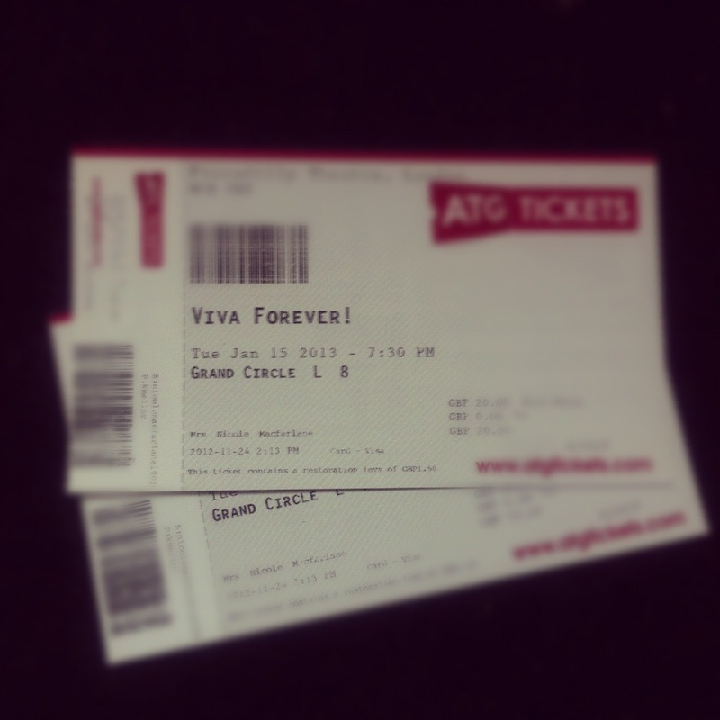 Viva Forever ticket that I bought for my friends birthday yaaayyy cant wait :)