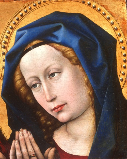 A detail of a painting of Christ and the Virgin by the Master of Flémalle, the first great master of Flemish and Early Netherlandish painting. Mary is depicted in prayer, a sign of the interceding power she has with her Son.