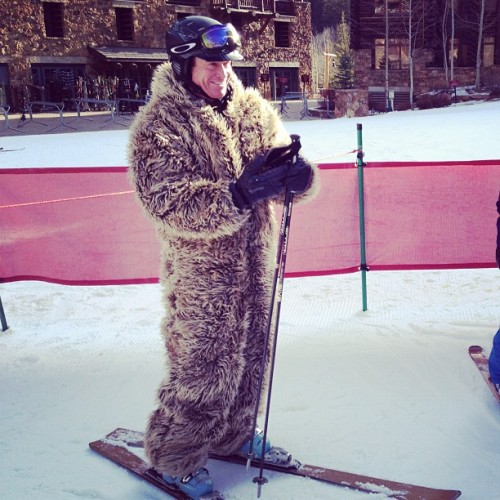 Spyder #oldfred suit sighting this morning in Beaver Creek! #oldschool (at Bachelor Gulch)