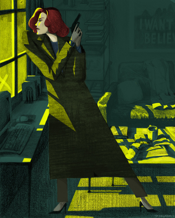 Dana Scully by Mika J Nakano for the upcoming GIRLS: Fact + Fiction show, opening Dec. 7th at the Light Grey Art Lab
