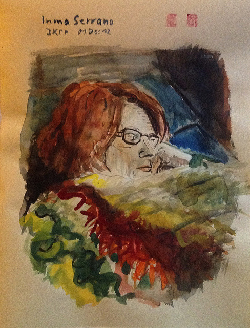 Inma Serrano (JKPP), watercolor on Ingres-Bütten 24x32cm, Dec/2012 #berndblacha on Flickr.