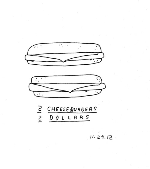 Daily Purchase Drawing 11.29.12  Two cheeseburgers