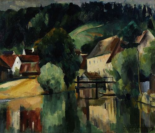 poboh:  Friedrich Ahlers-Hestermann (German, 1883-1973), Watermill, 1924.