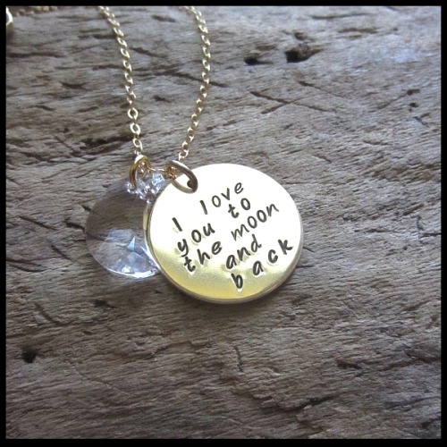 sweetblossomgifts:  14K Gold I Love You To The Moon and Back necklace with Moon Crystal