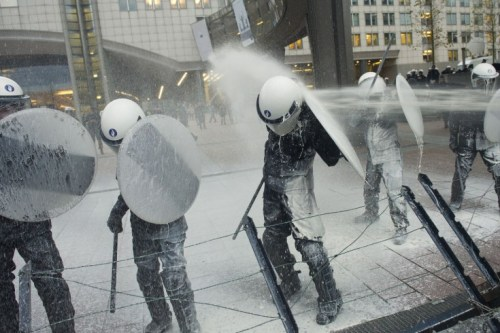 Geert Vanden Wijngaert—AP  Nov. 26, 2012. Police officers are sprayed with milk by European milk farmers during a demonstration outside the European Parliament in Brussels. Read more: http://lightbox.time.com/2012/11/30/pictures-of-the-week-november-23-30/#ixzz2DpDreKdS