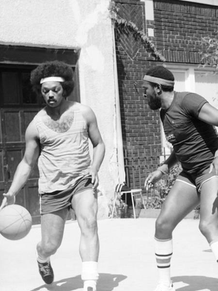 Jesse Jackson playing basketball with Marvin Gaye. (via postbourgie)