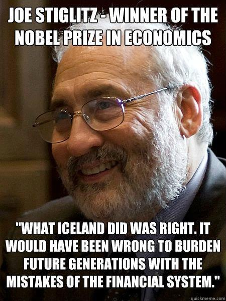 Nobel laureate Joe Stiglitz: Iceland was right to jail the bankers. H/t Kim Fry.