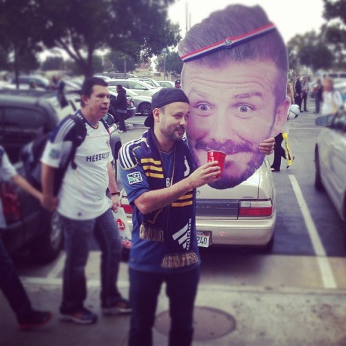 Drinking with my buddy! #davidbeckham #lagalaxy @lagalaxy  (at The Home Depot Center)