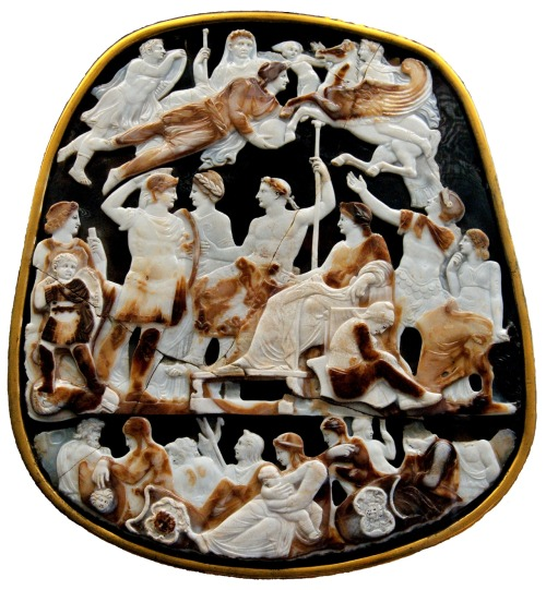 So-called Great Cameo of France. Five-layered sardonyx cameo, Roman artwork, second quarter of the 1st century AD. Grand Camée de France. Camée en sardonyx à cinq couches, œuvre romaine, deuxième quart du Ier siècle ap. J.-C. @credits  The Great Cameo of France (French - Grand Camée de France) is a five-layered sardonyxcameo of c. 23 AD. It is 31 cm by 26.5 cm. It appears to have come to France from the treasury of the Byzantine Empire, and is first attested in the first inventory of the treasure of Sainte Chapelle before 1279. It was then known as the Triumph of Joseph at the Court of the Pharaoh. It entered the Cabinet des médailles on the order of Louis XVI on 1 May 1791 (inventory number Babelon 264). Stolen during the French Revolution, it was recovered in Amsterdam but without its original gold frame, which was replaced by a bronze one that in turn was lost until 1912. It now resides in Paris at the Bibliotheque Nationale.