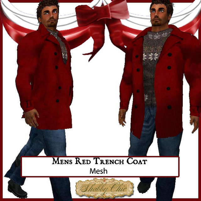 Shabby Chic Mens Red Trench Coat on Flickr.Via Flickr: Mens Trenchcoat available in the Christmas area - comes in five sizes XS, S, M, L and XL.  This is transferrable so you can give it as a gift.  Hope to see you these holidays!Follow Shabby Chic on FacebookFollow it on FlickrFollow it on the Chicaholic BlogVisit the Christmas Market in GemellaVisit the Main Store in GemellaVisit the Texture store in Brauni Photo by Jordanna Hamaski