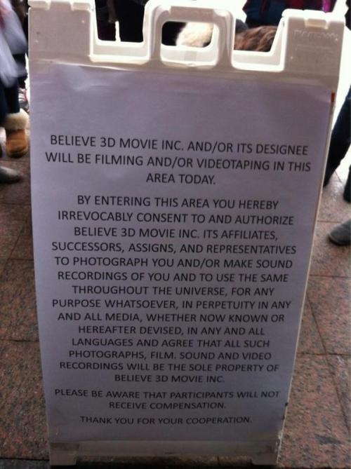 "Justin will record his 2nd Movie ""Believe 3D"" tonight, in Toronto!"
