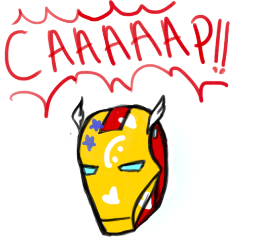 sirdef:  steve got a hold of tony's helmet and made a creative project out of it. tony's less than pleased. happy stevetonyfest!