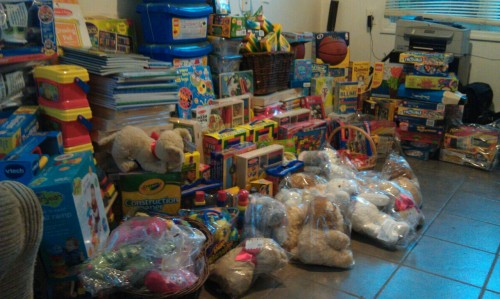 Trying to give you an idea of what two days worth of toy deliveries looks like. I'd say this is just about 1/4 of the presents we expect to receive for Sacks for Sandy. People are still buying gifts and most stuff will only be shipping Monday. You should click it to see it a little bigger. One more delivery and my office will be full. We'll have to start taking over the living room. That makes me happy. Tomorrow, someone from my town's Patch newspaper will be over to interview Leah and I (Leah will be on Skype). We can't wait to spread the word even more.  We can't thank you all enough. For the purchases, the reblogs and retweets, the Facebook shares, the offers of help and for caring. There are such good people in the world and I'm glad I know a whole bunch of them.