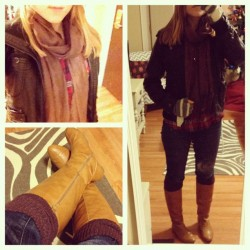{What I Wore Today: Friday, November 30, 2012 - Brown and Black Edition} Last night I came home from work when my after-work plans got cancelled and realized I hadn't done one of these in awhile, so I decided to take a snapshot before promptly changing into sweats. Faux-leather jacket: Target (for real I love this thing) Brown scarf: H&M (no longer available. It's old). Plaid shirt: Target Denim: Joe's Jeans Brown legwarmers: Discount Dance Supply Boots: Old Navy Gloves: Target (no longer available - very old, and the button fell off which is why a flap is hanging down).