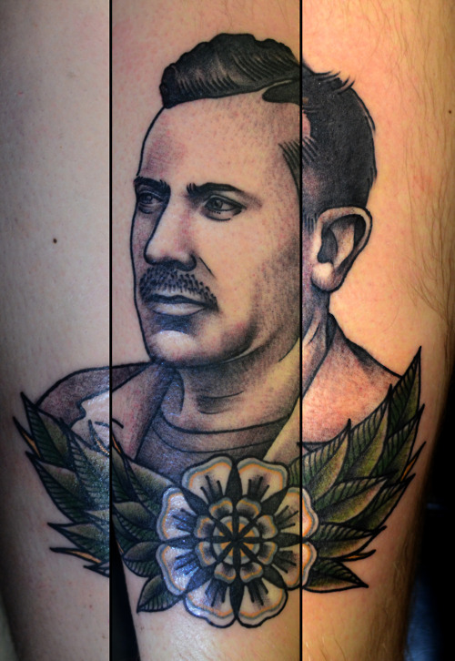 tattoosandtanktops:  Philip Yarnell's portrait of Steinbeck - awesome