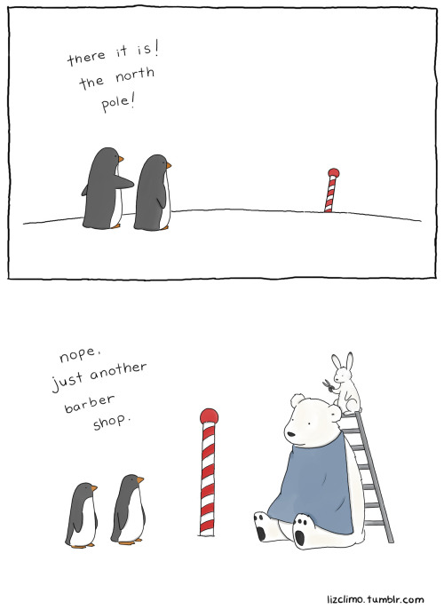 lizclimo:  i don't even think penguins live at the north pole. that's a long way to walk for a haircut.