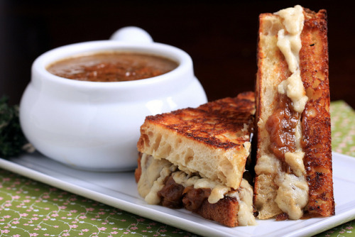 French Onion Soup and Cheezy French Onion Sandwich
