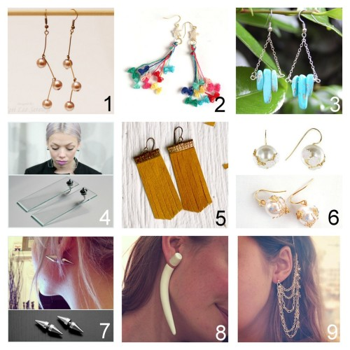 True Blue Me & You DIY Gift Guide: Earrings. I picked earrings that were doable by the holidays. To see other roundups of DIY gifts go here:truebluemeandyou.tumblr.com/tagged/diy-gift-guide After Looking through many pages of earrings, these are my favorites to DIY for gifts. Part Two Beginner Pearl Drop Earrings Tutorial from Pink Lemonade here. Etoile Earrings by Kamiori Kaori Tutorial from Small Good Things here. Turquoise Spike and Chain Drop Earrings Tutorial from Transient Expression here. Modern Plexiglass Earrings Tutorial from Love Aesthetic here. *See my note on drilling plexiglass. Also you can buy really small sheets of plexiglass at Home Depot. Faux Suede Fringe Earrings Tutorial from Milk & Honey here.  Les Néréides Voluptueuse et Vaporeuse Inspired Earrings Tutorial from Small Good Things here. Top Photo: $136 Les Néréides drop earrings here, Bottom Photo: DIY by Small Good Things.  Double Spike Earrings Tutoria by holleigh from covetous creatures here. Polymer Clay Fake Plug Earring Tutorial by The Perfect Pear here.  Chains and Stars Earrings with Combs Tutorial from Teahab here.