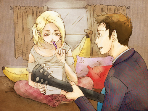 elephantsfromtime:   the doctor and rose tyler writing some songs. of course he'd have a banana pillow. fanart for gallifreyburning and allrightfine's gallifrey records doctor who au.i've been re-reading it and guys, guys, i love it so much. ;__;