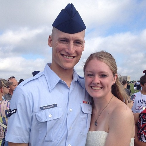 My name's Hailey and this is my Airman, Brock. We met back in 2007 in our high school Spanish class. He was a Sophomore and I was a Freshman. We ended up getting seated next to each other and were placed into a group. We were friends ever since. He always came to me for advice on girls, friends, etc. We were always there for each other. We tried dating the next year, but we didn't think it would work, so we remained friends. During his first year at Hope College, I visited him (his girlfriend at the time didn't like that too much), and we just realized we missed each other, but he didn't want to break up with his girlfriend yet. I was in my Senior year, so it was okay with me. My first year of community college, I was walking through the main lounge and noticed him sitting there. He said that Hope got too expensive and and to move back home. We began hanging out that December and We began dating a month later! He told me he wanted to join the Air Force and I was behind him 100%. He went to our local recruiter, got info, got everything he needed, took his ASVAB, swore in, and left Aug. 7th. He then graduated on Oct. 5th, and I was so proud of him. I was able to go and it was an awesome experience. He's now currently in tech school at the Goodfellow AFB in San Angelo, TX . He graduates from there in April then is heading to his first base (where I will be joining him) in Germany.  We're getting married next month on Dec. 27th and we couldn't be anymore excited. We're each others best friend and we couldn't be happier. =D http://spideysbestfriend.tumblr.com/