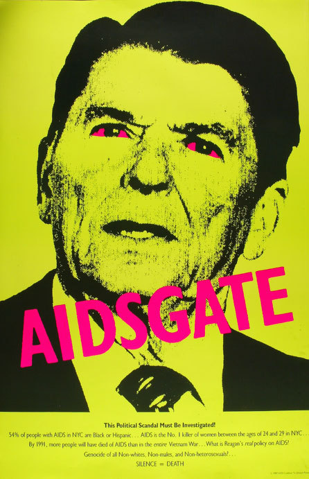 reagan-was-a-horrible-president:  A look back at Ronald Reagan and AIDS  ACT UP had some truly iconic posters.