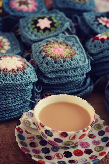 "podkins:  Crochet and Tea - more pretty from Coco Rose Textiles. Note: Lots more pics of this finished afghan (called the ""All Boy's Blanket"") via the link.  Amazingly lovely."