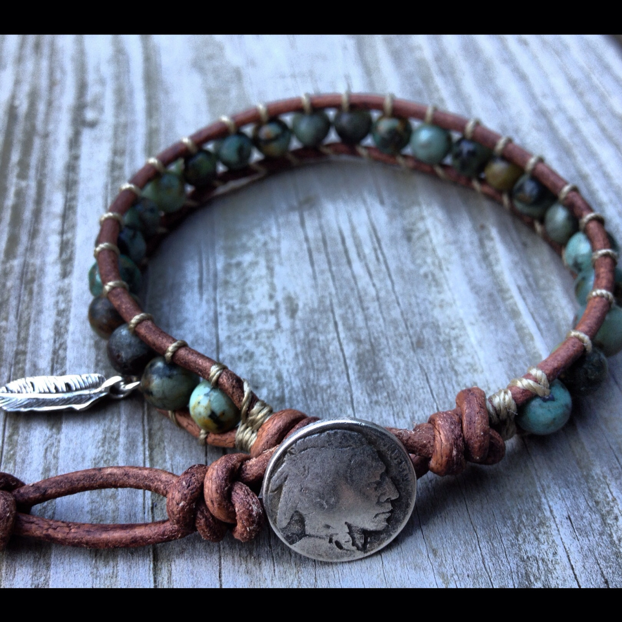 Native American Turquoise bracelet with sterling silver charm. Find it at www.designbyance.etsy.com