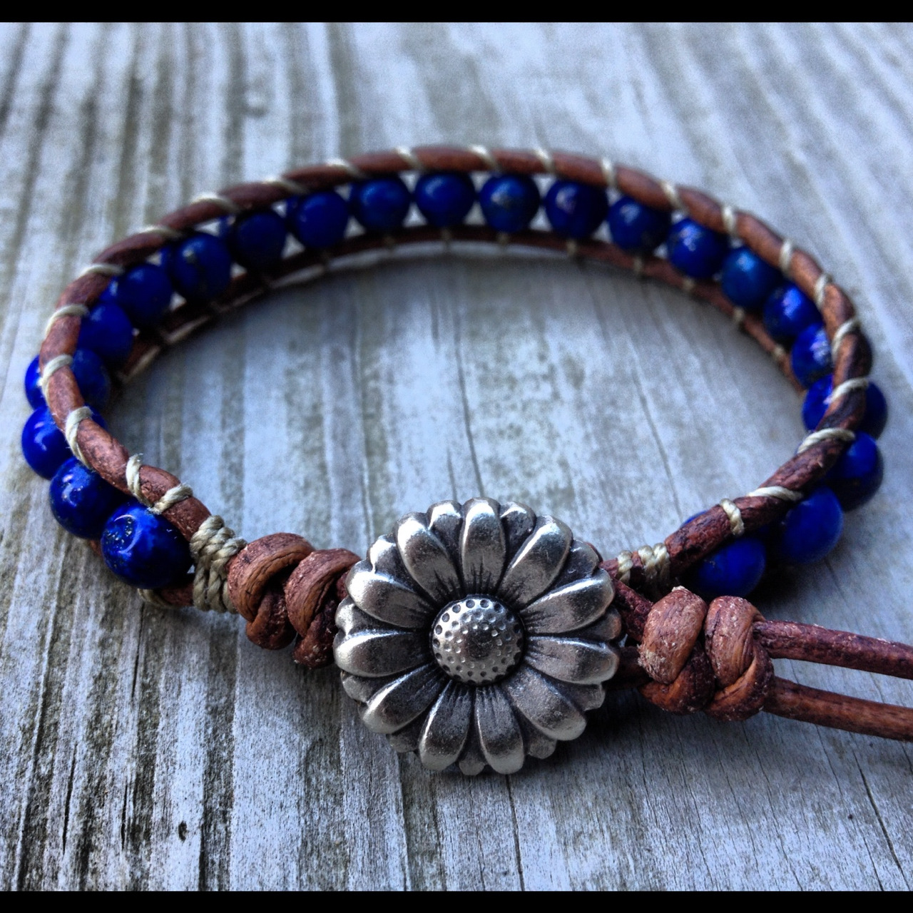 Lapis Lazuli leather bracelet at www.designbyance.etsy.com
