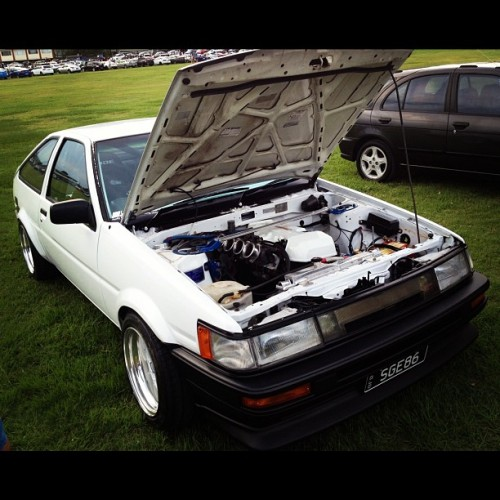 downshiftaus:  BEAMS powered AE86 with a killer ITB setup. In love!! #toyota #corolla #ae86 #hachiroku #initiald #3sge #beams #itb #clean #immaculate