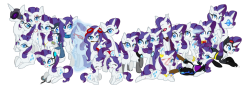 ask-sapphire-eye-rarity:  The Many Rarity of Tumblr Rarity's from Left to Right:Veriventure Hipster Rarity Lil Miss Rarity Diamond Rarity Spy Rarity Sapphire Eyed Rarity Transformer Rarity Ratchet RarityPervy Rarity Scarity Sexy Rarity Iron Mare Sadistic Rarity Cow Girl Rarity Ecstatic Rarity Spike and Rarity Ms. Rarity SingularityRarity's along the bottom from Left to Right:Bipolar Rarity Gamer Rarity Filly Rarity Tiniest Rarity Lady Rarity Pirate Rarity Cat Mare Drawn by http://twilathewolf.deviantart.com/  ((This is neato, and Verity's even in it! :0c))