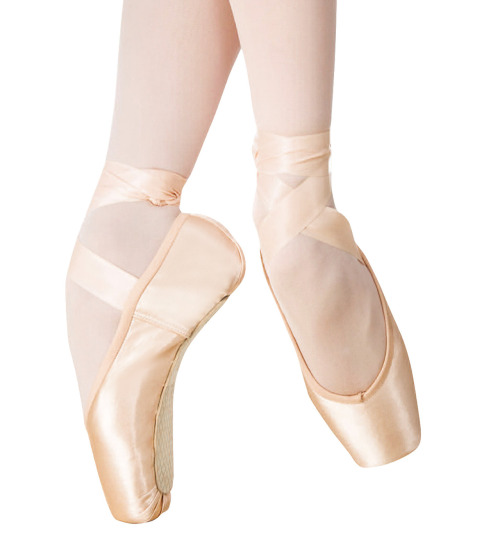 Pointe Shoes  Although dancing en pointe has come to epitomise the art of the ballerina, the technique was not developed until the beginning of the 19th century. No one knows when women first danced on the tips of their toes, but it is believed to have begun in the early 1800s. When the French Revolution brought an end to court ballet, it also caused the heavy unwieldy costumes that had been used at court to lose favour. Dancers began to wear lighter costumes and to appear in 'Maillots', tights named after a costumier at the Paris Opéra. Flat ballet slippers tied with ribbons became standard footwear. These new soft shoes without a heel allowed the dancers to jump and turn with greater ease and encouraged them to present a more fully extended pointed foot. Dancers soon discovered that by rising higher and higher on half pointe, they were able to balance on the ends of their fully stretched toes. Geneviève Gosselin, who died at the peak of her career in 1818, is thought to have danced en pointe in a production of Charles-Louis Didelot's Flore et Zéphire in 1815 and prints dated 1821 show Fanny Bias in the role of Flore also appearing to be en pointe. However, the earliest attempts to dance en pointe probably involved little more than briefly posing on the tips of the toes to give the illusion of weightlessness. It was Marie Taglioni's performances in La Sylphide in 1832 that not only ushered in the age of the Romantic ballet, but also the use of pointe work as an essential choreographic element. Using pointe work to bring a new poetic quality to ballet, she became famous for her gracefulness, her lightness and her ability to seemingly float above the floor. The shoes worn by Taglioni were not like today's pointe shoe. There was no stiffened box to support her toes. Instead she darned her shoes along the sides and around the toe to keep the slipper in shape and to give her extra support. As technique expanded, particularly in the school of the Italian Carlo Blasis, ballerinas began to perform much more demanding virtuoso steps. For example, Pierina Legnani introduced 32 turning fouettés into Marius Petipa's Cinderella in 1893. To enable the ballerina to do such difficult feats, the pointe shoe had to be considerably strengthened. Dancing en pointe became a means of expressing fire and strength as well as fantasy. Today's pointe shoe Today's pointe shoe is made of shiny satin and is still shaped liked a tightly fitting slipper. The area covering the toes is made of layers of fabric glued together in the shape of a 'box'. It is this hardened glue that makes the shoe stiff. It supports the toes and gives them a small platform on which to perch. These blocks come in varying degrees of hardness, widths and vamp lengths. The sole of the shoe is hard leather which prevents it from bending too freely, and also helps to support the feet as they rise on and off the top of the pointe. To keep the shoe on securely, the dancers sew satin ribbons to the sides and tie them tightly around the ankles. When dancing, a dancer's body heat tends to soften the glue that forms the box of the shoe and eventually the shoe will fail to support the dancer's foot. This is the reason why some dancers use more than one pair of shoes in the course of a performance. The Australian Ballet issues each female dancer with pointe shoes: corps de ballet and coryphée members receive two pairs per week, soloists and senior artists receive three pairs, and principal ballerinas receive six pairs. All of these shoes are hand-made to each dancer's individual specifications. Over 5000 pairs of pointe shoes are used at a cost of more than $250,000 per year – a huge expense for the company but a necessary one, for without them today's classical dancer would not be able to dazzle the audience with displays of exciting turns, intricate footwork and spectacular balances. source
