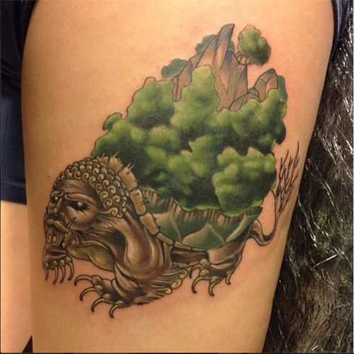 fuckyeahtattoos:  Lion Turtle from the series Avatar: The Last Airbender Artist: Britton Asbury at Cloak and Dagger Tattoo in Dayton, Ohio.