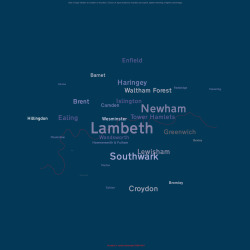 ojcollins:  Updated word map, depicting murders in London boroughs from 2006–2011 using type size to demonstrate data.